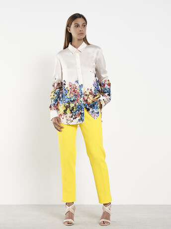 Cotton-piqué pants - Citron