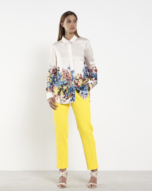 Cotton-piqué pants - Citron