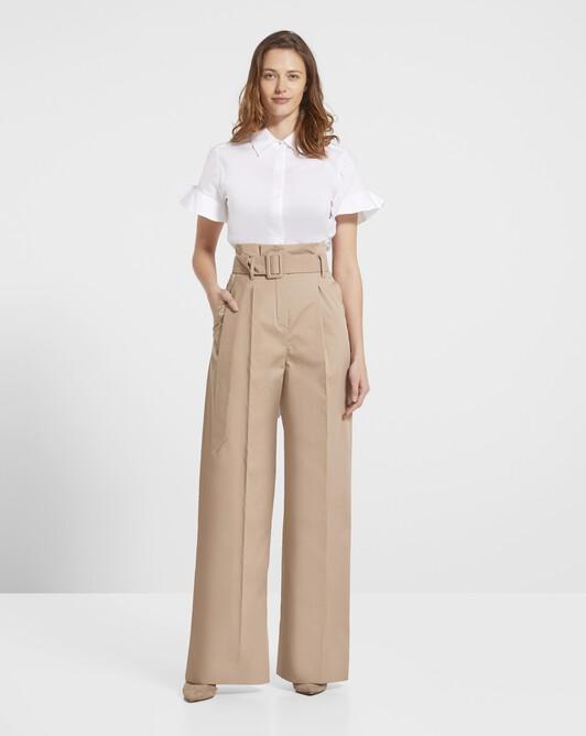 Wide-leg cotton pants - Beige