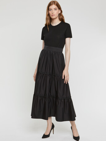Stretch-satin poplin skirt - Noir
