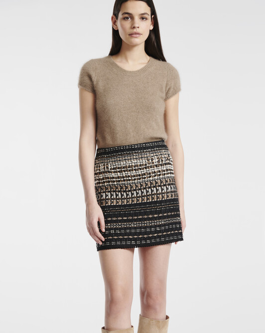 Black and gold tweed skirt - Noir