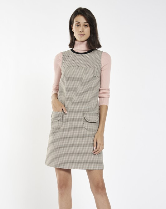 Houndstooth cotton dress - Black / camel