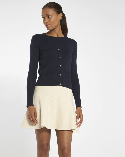 Cardigan in cashmere silk - Navy blue