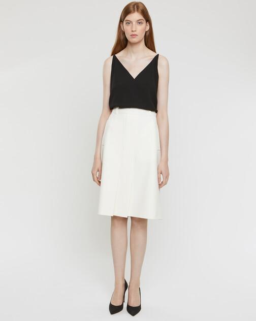 Stretch-tricotine skirt