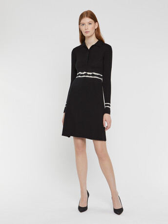 Robe courte en mérinos - Noir / blanc casse