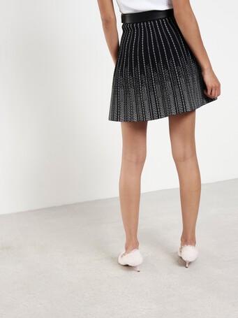 Jupe courte en viscose - Noir / blanc