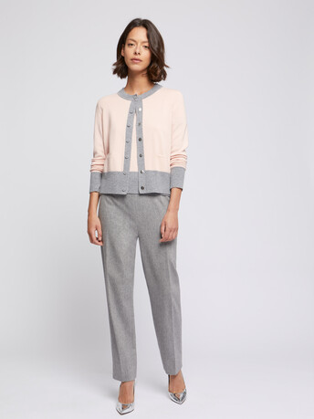 Wool and cashmere cardigan - Poudre / souris