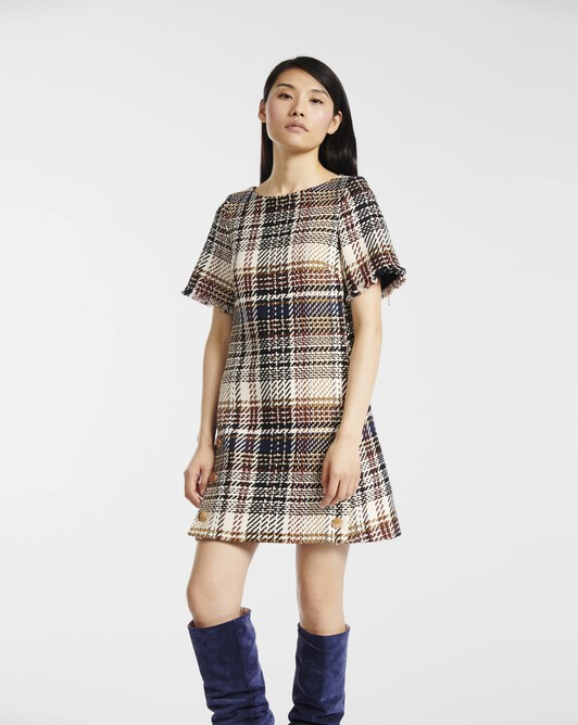 Dress in Prince of Wales checked cotton - brun / marine