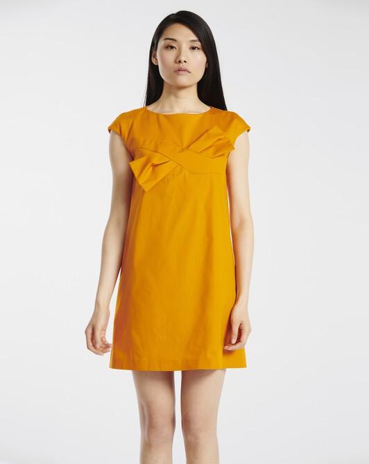 Dress in stretch-cotton poplin - Tangerine