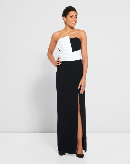 Satin-back crepe dress - Noir / blanc casse