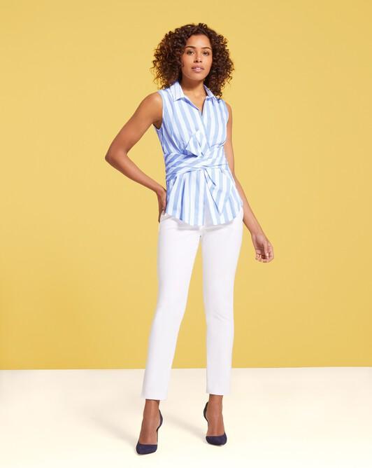 Striped poplin shirt - Aqua / blanc