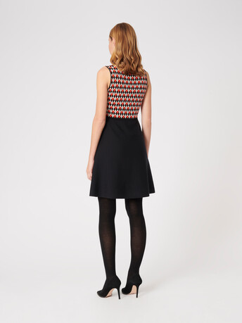 Jacquard dress - Noir / cornaline