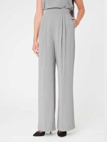 Satin-back crepe pants - Cendre