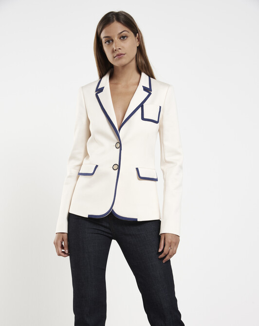 Stretch-cotton ottoman jacket - Blanc casse / encre