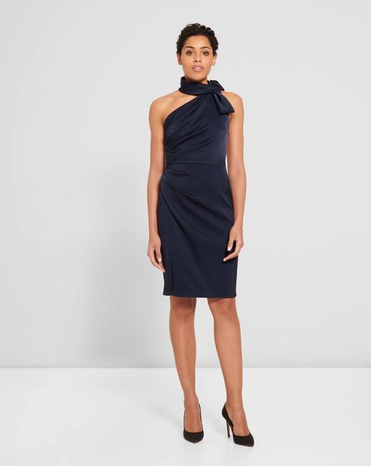 Satin-back crepe dress - Encre