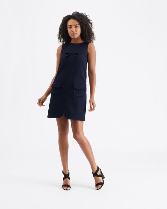 Cotton-piqué dress - Encre