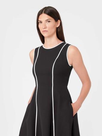 Two-tone cotton dress - Noir / sable