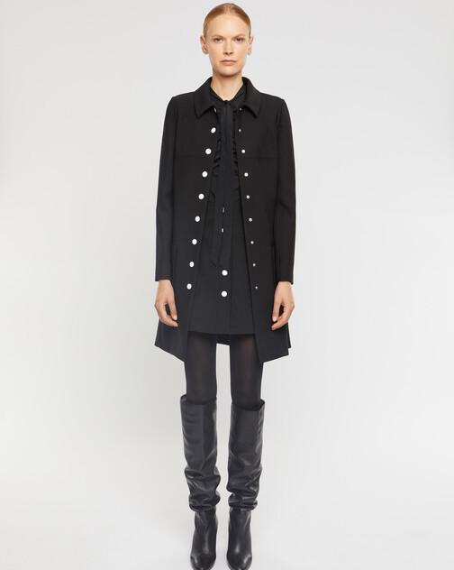 Mini-jupe boutonnée en tricotine stretch