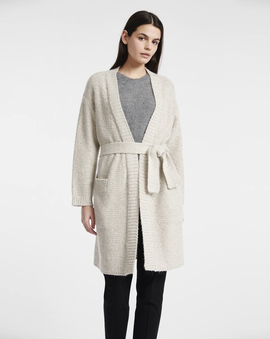 Manteau en fil fantaisie paillettes - Naturel