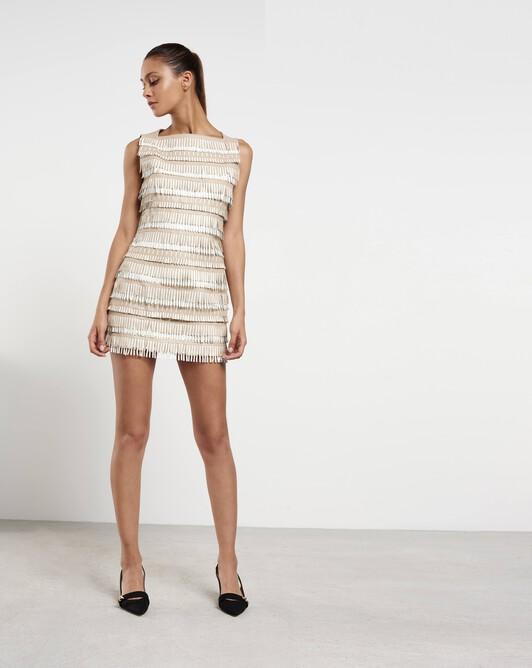 Short dress in fringed lambskin leather - Pierre / blanc casse