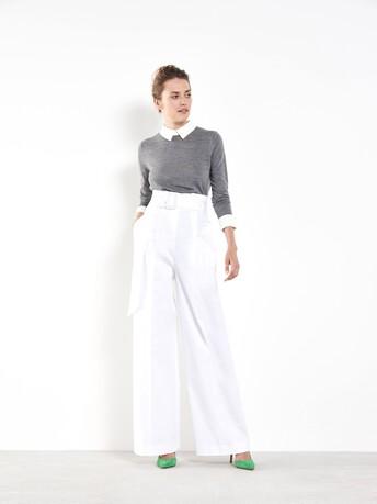 Wide-leg cotton pants - White