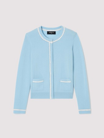 Wool and cashmere cardigan - Atlas / blanc casse