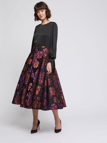 Floral jacquard midi skirt - Multicolore