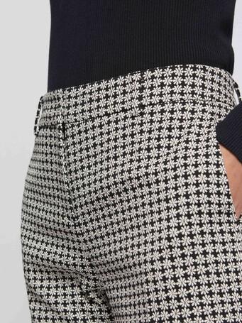 Pantalon cigarette en jacquard imprimé pâquerettes - Noir / blanc