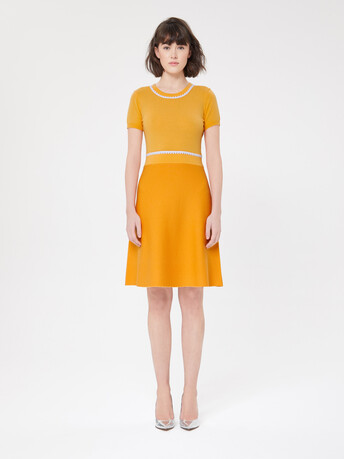 Wool and cashmere dress - Curcuma/blanc casse