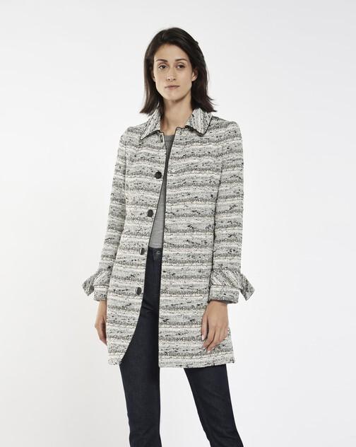 Black and white fine tweed coat