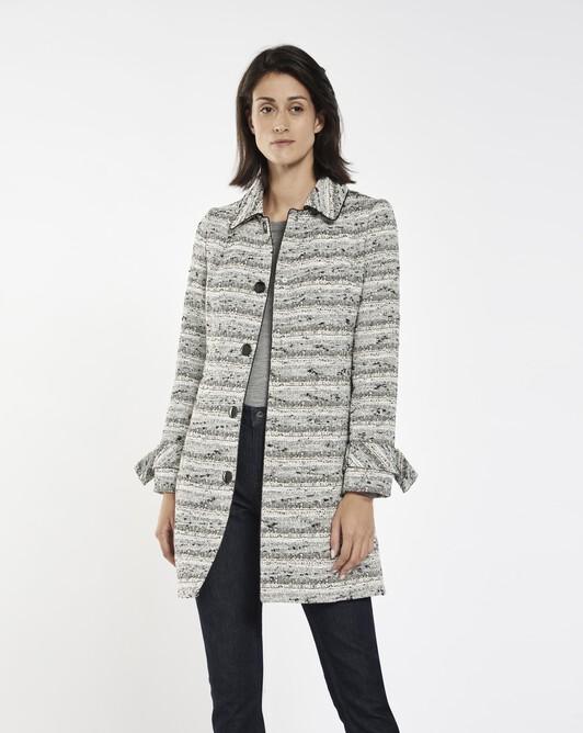 Black and white fine tweed coat - Black / white