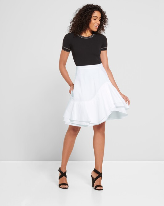 Cotton-poplin skirt - White