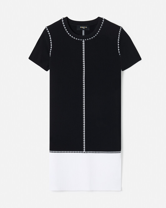 Robe en viscose mat - Noir / blanc