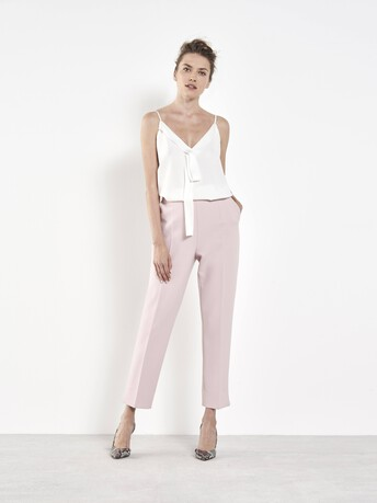 Stretch tricotine trousers - Rose pale