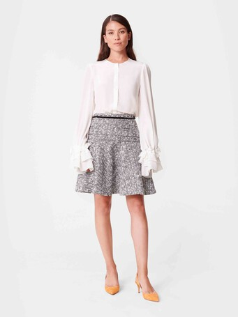 Jupe trapèze en tweed - Noir / blanc