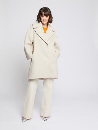 Manteau mi-long en drap de laine - Praline