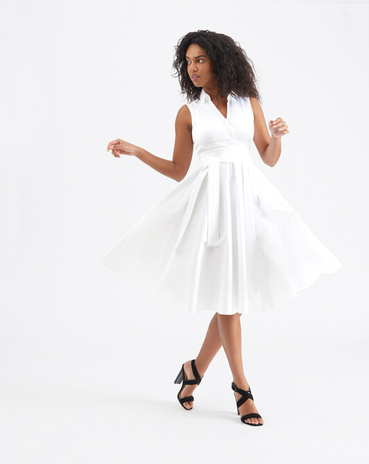 Satin-poplin dress - White