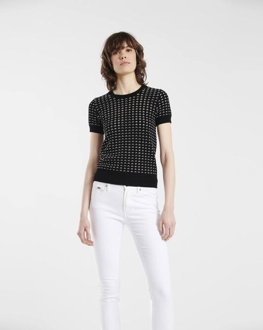 Sweater in openwork viscose - Black / white