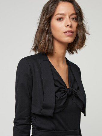 Cardigan en jersey de coton stretch - Noir