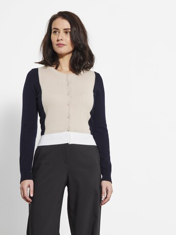 Cashmere and wool cardigan - Mastic / marine