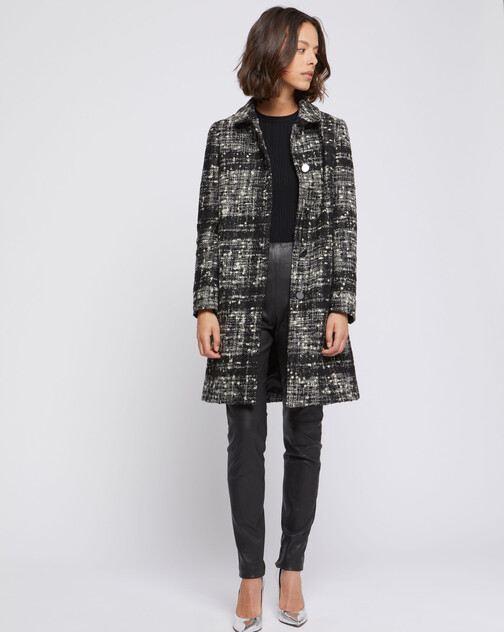Manteau mi-long en tweed chiné