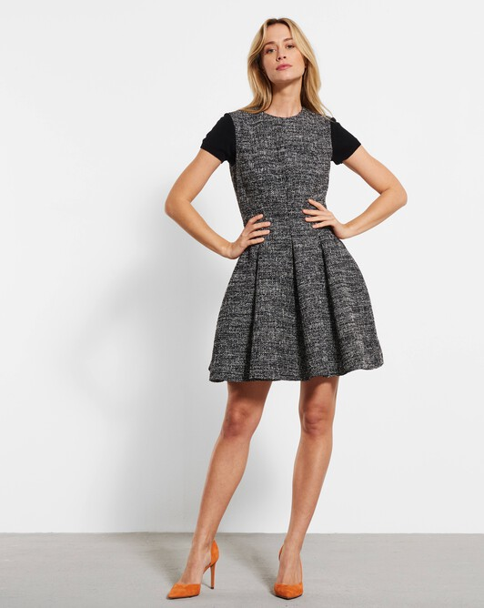 Robe courte en tweed chiné - Noir