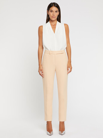 Double-wool crepe pants - Gingembre