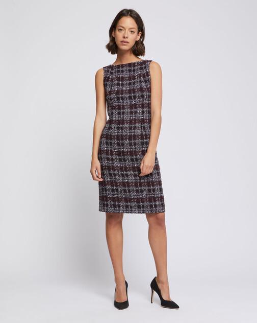 Burgundy tweed shift dress