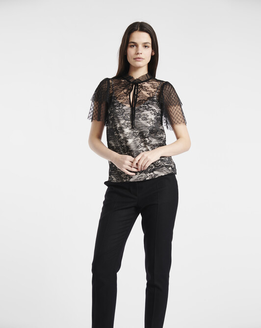 Mixed lace top - black