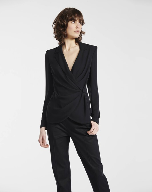 Jacket in georgette crepe - Noir