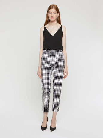 checked stretch pants - Noir / blanc