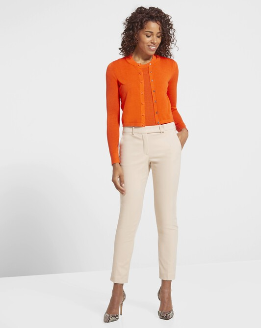 Silk and cotton classic cardigan - Orange