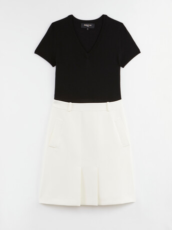 Robe bi-matière en tricotine - Blanc casse