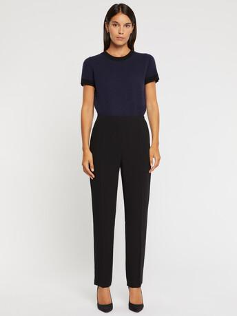 Pantalon droit en crêpe envers satin - Noir